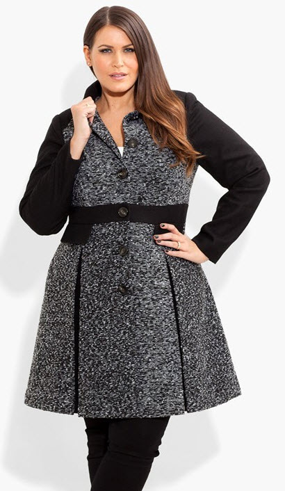 Plus Size Coat: Boucle Fit & Flare by City Chic
