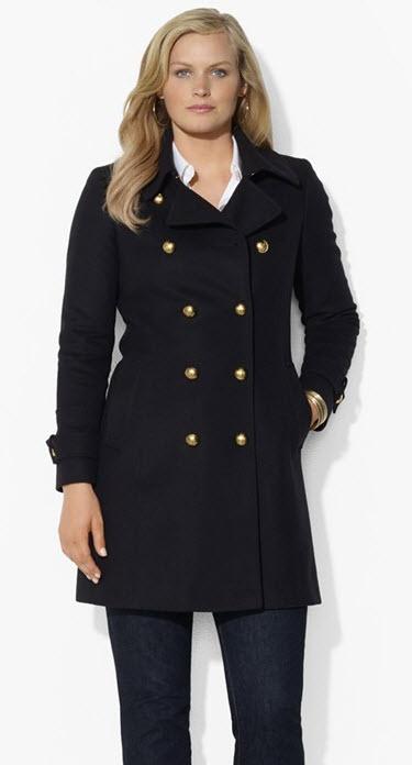 Plus Size Coat: Double Breasted Peacoat Lauren Ralf Lauren