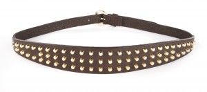 Brave leather brown studded belt