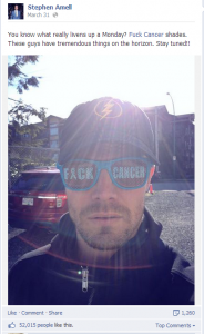 Stephen Amell Fuck Cancer Sunglasses Facebook