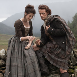 Caitriona Balfe and Sam Heughan as Claire and Jamie in Outlander