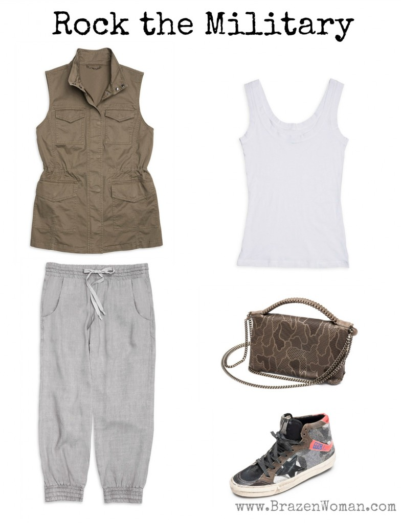 Rock the Spring Military Look, Outfit 1