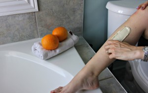 Nair Cire Divine - Removing Wax from Leg