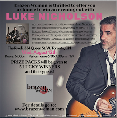 BrazenWoman Contest: Join Us for an Evening with Singer Luke Nicholson