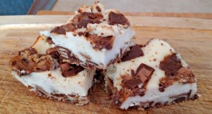 Leftover Halloween Candy Mini Chocolate Bar Cheesecake Bars
